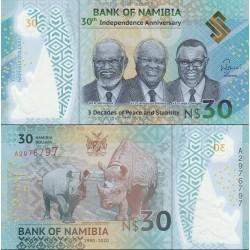 اسکناس یلیمر 30 دلار - سی امین سالگرد استقلال  ,  3 دهه صلح و ثبات- نامیبیا 2020