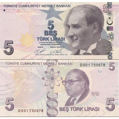 اسکناس 5 لیر - ترکیه 2009 سری D