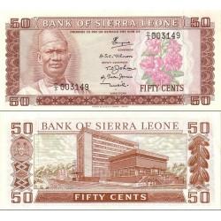 اسکناس 50 سنت - سیرالئون 1979 پرفیکس سریال D/3 تا D/5