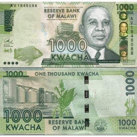 اسکناس 1000 کواچا - یادبود پنجاهمین سالگرد استقلال - مالاوی 2014