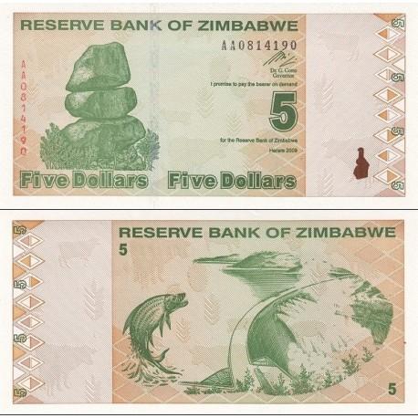 اسکناس 5 دلار - زیمباوه 2009