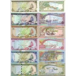 نیم ست اسکناسهای مالدیو -2، 5، 10، 20، 50، 100 روفیا - مالدیو 1983 الی 2013
