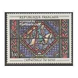 1 عدد تمبر تابلو نقاشی کلیسای جامع Sens - فرانسه 1965