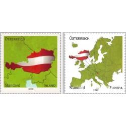 2 عدد تمبر داخلی/اروپا 2v با خطوط مرزی اصلاح شده - نقشه اتریش  - خودچسب - اتریش 2012