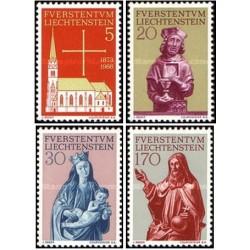 4 عدد  تمبر مرمت کلیسای پاریس در وادوز - لیختنشتاین 1966