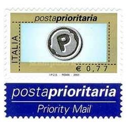 1 عدد تمبر  سری پستی - پست حق تقدم - خودچسب - 0.77 یورو - ایتالیا 2002