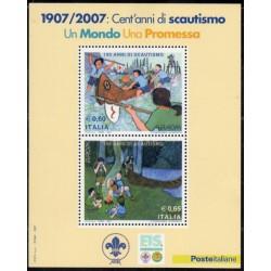 سونیرشیت تمبر مشترک اروپا - Europa Cept- صدمین سالگرد پیشاهنگی - ایتالیا 2007