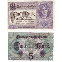 اسکناس 5 مارک - رایش بانک -رایش آلمان 1917 -  سریال 8 رقمی