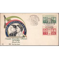 پاکت مهر روز بازدید محمدرضا پهلوی و ثریا از  ترکیه - با مهر استانبول - ترکیه 1956