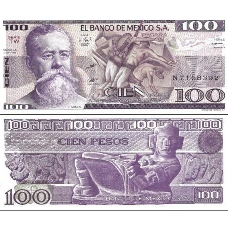 اسکناس 100 پزو - مکزیک 1981 سری TW تاریخ 3 سپتامبر 1981