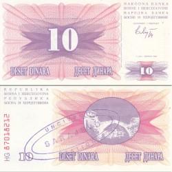 اسکناس 10 دینار - سورشارژ سارایوو - بوسنی و هرزگوین 1992