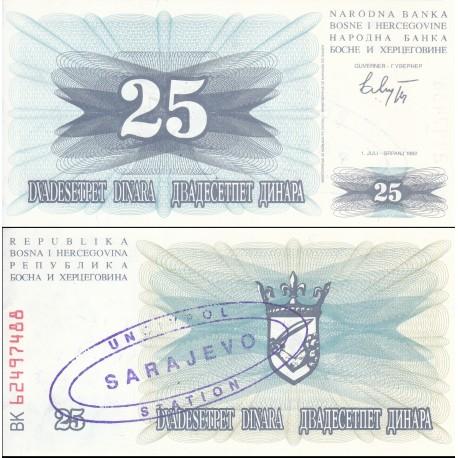 اسکناس 25 دینار - سورشارژ سارایوو - بوسنی و هرزگوین 1992