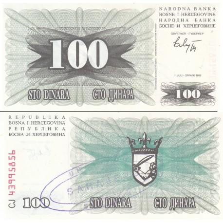 اسکناس 100 دینار - سورشارژ سارایوو - بوسنی و هرزگوین 1992