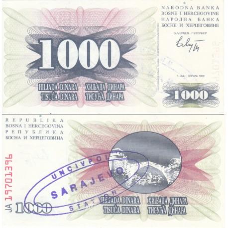 اسکناس 1000 دینار - سورشارژ سارایوو - بوسنی و هرزگوین 1992