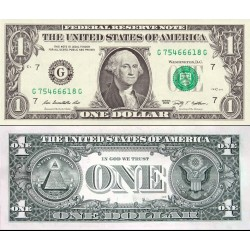 اسکناس 1 دلار - آمریکا 2009 سری G شیکاگو - مهر سبز