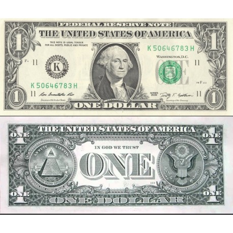 اسکناس 1 دلار - آمریکا 2009 سری K دالاس - مهر سبز