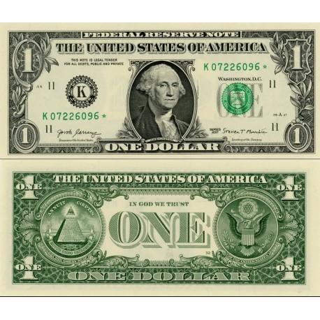 اسکناس 1 دلار - آمریکا 2017 سری K دالاس - مهر سبز