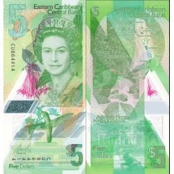 اسکناس پلیمر 5 دلار - تصویر ملکه الیزابت دوم - کارائیب شرقی 2021