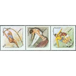 3 عدد  تمبر هفتمین دوره بازیهای پان عربی ، دمشق - سوریه 1992 قسمت 5.8 دلار