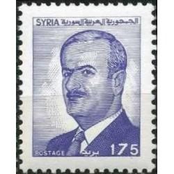 1 عدد  تمبر سری پستی - یادبود رئیس جمهور حافظ اسد - 175 - سوریه 1988