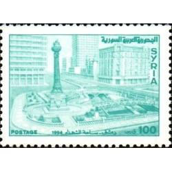 1 عدد  تمبر سری پستی - میدان شهدا - 100 - سوریه 2001