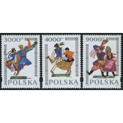 3 عدد تمبر رقصهای قومی - لهستان 1994