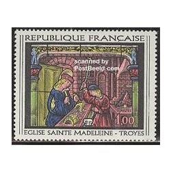 1 عدد تمبر شیشه کاری اثر تروی - فرانسه 1967