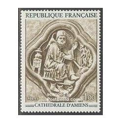 1 عدد تمبر حجاری کلیسای جامع آمین - فرانسه 1969