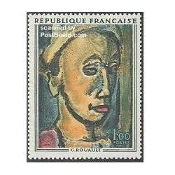 1 عدد تمبر تابلو اثر روآلت - فرانسه 1971
