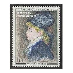 1 عدد تمبر تابلو اثر رنویر - فرانسه 1968