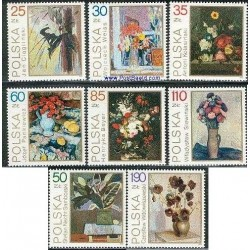 8 عدد تمبر تابلو نقاشی گل ها - لهستان 1989
