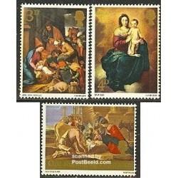 3 عدد تمبر کریستمس - تابلو نقاشی - انگلستان 1967