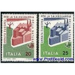 2 عدد تمبر حفاظت از طبیعت اروپائی - ایتالیا 1970