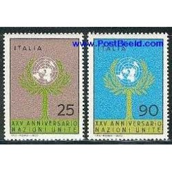 2 عدد تمبر 25 امین سالگرد سازمان ملل - ایتالیا 1970