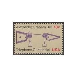 1 عدد صدمین سالگرد تلفن - الکساندر گراهام بل - آمریکا 1976