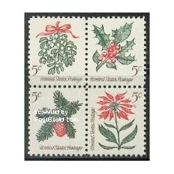 4 عدد تمبر کریستمس - گل و گیاه - آمریکا 1964