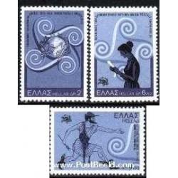 3 عدد تمبر صدمین سالگرد اتحادیه جهانی پست - یونان 1974