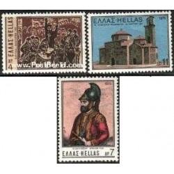 3 عدد تمبر کشیش میهن پرست - جورجیو فلساس - یونان 1975