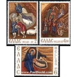 3 عدد تمبر کریستمس - یونان 1970