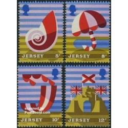 4 عدد تمبر توریسم - جرسی 1975
