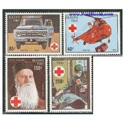 4 عدد تمبر 75 سال صلیب سرخ - بورکینافاسو 1985