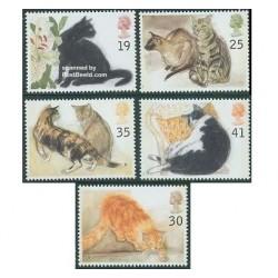 5 عدد تمبر گربه ها - انگلیس 1995