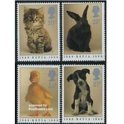 4 عدد تمبر حیوانات - انگلیس 1990