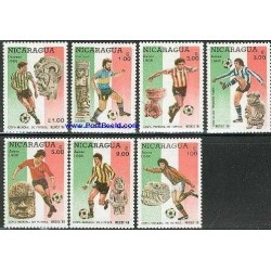 7 عدد تمبر جام جهانی فوتبال - مکزیکو 86 - نیکاراگوئه 1986