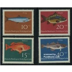 4 عدد تمبر جوانان - ماهیها - آلمان 1964