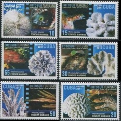 6 عدد تمبر عکاسی زیر آب ماهیها و مرجانها - کوبا 2011