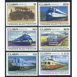6 عدد تمبر قطارهای برقی - کوبا 2007