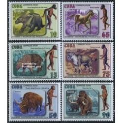 6 عدد تمبر انسانها و حیوانات ماقبل تاریخ - کوبا 2008