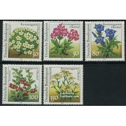 5 عدد تمبر گلهایی از باغچه اوبرهوف - آلمان 1991