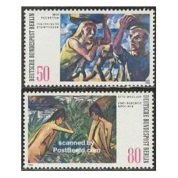 2 عدد تمبر نقاشی های مدرن  - آلمان 1982